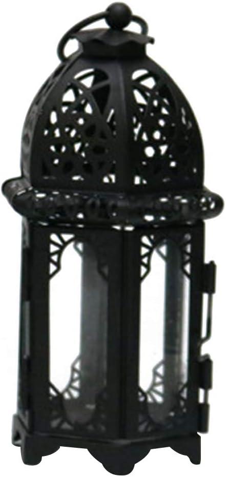 XHXseller Pilar Candelabros Retro Hierro Candelabro Linternas para Velas, Portátil Estilo marroquí Candelabro Hueco Interior Fácil de Instalar Lámpara de Hierro