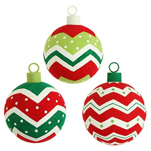 RAZ Imports - 6 Inch Flocked Ball Christmas Tree Ornaments - Set of 3