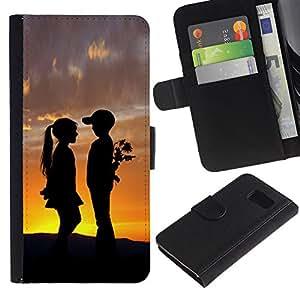 UNIQCASE - Samsung Galaxy S6 SM-G920 - Boy & Girl Sunset Romance Kiss - Cuero PU Delgado caso cubierta Shell Armor Funda Case Cover