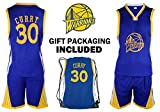 Fan Kitbag Steph Curry Jersey Kids Basketball Curry Jersey & Shorts Youth Gift Set ✓ Premium Quality ✓ Basketball Backpack GIFT PACKAGING ✓ (YL 10-13 Yrs Old, Curry Jersey Gift Set)