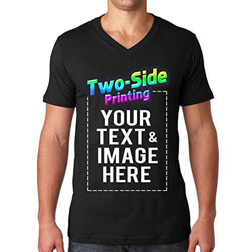 Custom Men's V Neck T Shirts Design Your Own Add Text or Picture Printed Personalized Tee]()