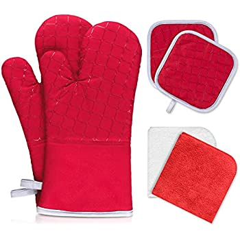 IXO 6Pcs Oven Mitts and Pot Holders, 500℉ Heat Resistant Oven Mitts with Kitchen Towels Soft Cotton Lining and Non-Slip Surface Safe for Baking, Cooking, BBQ (Red)