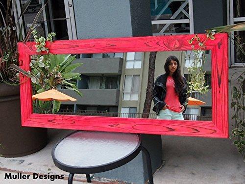 Wood mirror, heart red 53.5x22.5, floor mirror, full length mirror, wall mirror, rustic mirror, modern mirror