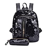 Keliay Girl Sequins School Zipper Backpack Travel Shoulder Bag+Clutch Wallet (Black)