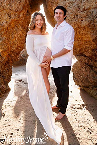 c065b7e0f0719 White Maternity-Dress off Shoulder Long Sleeve Chiffon Gown Split Front  Maxi Pregnancy Photography-