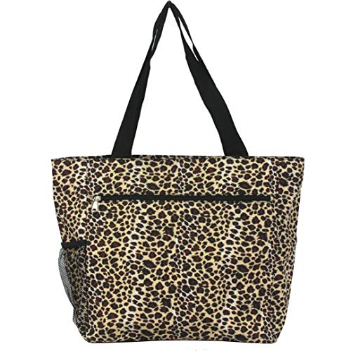 (Women's Generic Print Beach Shopping Gym School Nurses Travel Tote (Leopard Black Trim))