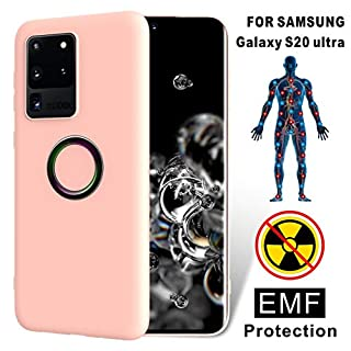 TAGCMC for Samsung Galaxy S20 Ultra case Liquid Silicone Gel Rubber Shockproof Case Soft Microfiber Cloth Lining,EMF Protection Radiation&Release Negativeion case for Galaxy S20 Ultra 6.9 Inch-Ping