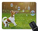 NUOCHUANG Puppy Jack Russell Playing with Soap Bubbles in Summer Outdoor Rectangle Non Slip Rubber Mouse Pad Mousepad Mat