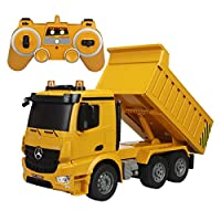 fisca Remote Control Truck 6 Channel 2.4Ghz RC Dump Truck Authorized by Mercedes-Benz Construction Vehicle Toy Machine Model with LED Lights and Simulation Sound for Kids