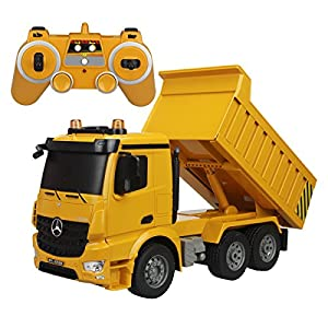 Fisca RC Dump Truck Authorized by Mercedes-Benz Arocs Remote Control Heavy Duty Construction Vehicle,6 Channel 2.4G Hobby Electronics Toys with Lights and Sounds for Kids