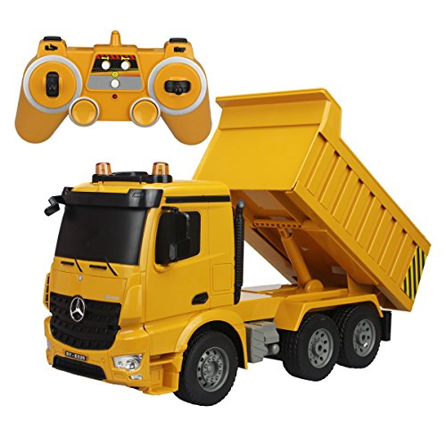(fisca Remote Control Truck 6 Channel 2.4Ghz RC Dump Truck Authorized by Mercedes-Benz Construction Vehicle Toy Machine Model with LED Lights and Simulation Sound for Kids)