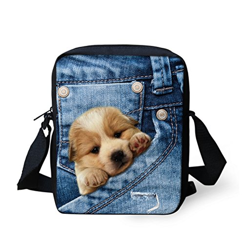 HUGS IDEA Cute Small Shoulder Messenger Bags Handbag Cellphone Pouch Purse Wallet (Golden Retriever) Bag Fashion Camera Wallet