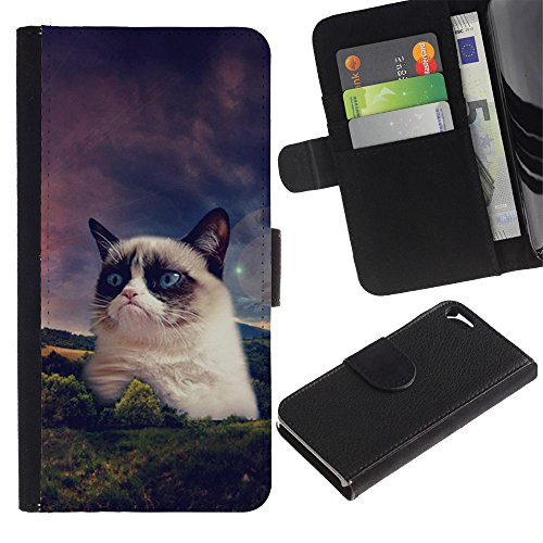 OMEGA Case / Apple Iphone 5 / 5S / funny grump cat snowshoe Siamese / Cuir PU Portefeuille Coverture Shell Armure Coque Coq Cas Etui Housse Case Cover Wallet Credit Card