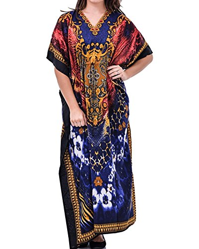 Loire Couture Damen Kaftan Kleid Braun Braun 52 I/ Royal Blue ...