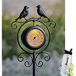 Gift Included- Solar Powered Double-Sided Outdoor Clock/Thermometer Garden Stake Decor Bird Silhouettes + FREE Bonus Water Bottle by Home Cricket
