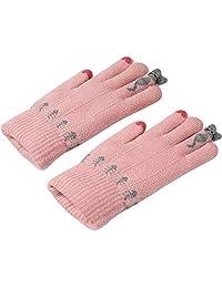 Girls Cold Weather Gloves, Ulstar Girls Warm Cute Cashmere/Wool Blend Winter Windproof Gloves (Pink)