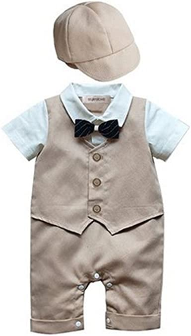 Baby Boy All-in-One Suit Wedding Christening Formal Party Smart Outfit Tuxedo