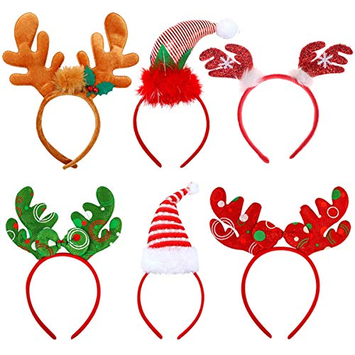 Tin Field Santa Hats (6 Pack), Christmas Party Hats Christmas Reindeer Costume Headbands for Christmas Holiday Party