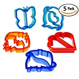 BPA-Free Sandwich Crust Cutter 5 Pack. Decrust Bread Into Cute Heart, Dolphin, Bat, Butterfly & Dinosaur Shapes. Remove Crusts for Fun Lunch Box Surprises for Kids Snack Bags. Great Cookie Cutter Too. by Crustigator