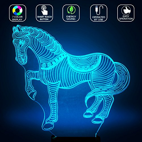 3D Horse Head Lamp, Optical Illusion Night Light for Nursery / Decor / Living Room, 7 Colors Changing Horse Toy and Gift for Kids / Birthday by YKL World