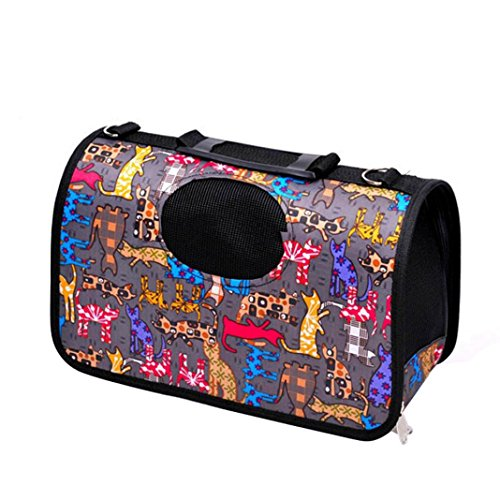 Botrong Multifunctional Dog Cat Soft Portable Canvas Tote Carrier House Kennel Pet Travel Bag (E)