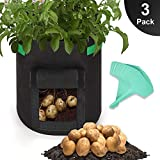 GROWNEER 3-Pack 7 Gallons Grow Bags Potato Planter Bag w/Access Flap & Handles, Planting Grow Bags Fabric Pots for Grow Vegetables, Potato, Carrot, Onion, w/ 15Pcs Plant Labels