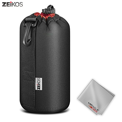 Zeikos ZELP3 Lens Case Size Thick Protective Neoprene Pouch for DSLR Camera Lens (CanonNikonPentaxSonyOlympusPanasonic) Comes with a Miracle Microfiber Cloth, Large
