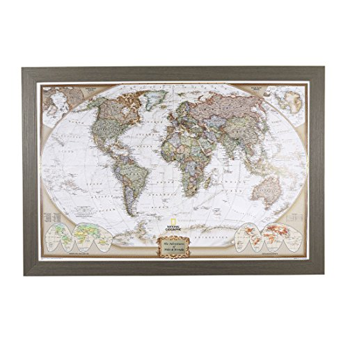 Personalized Executive World Push Pin Travel Map with Barnwood Gray Frame and Pins 24 x 36 by Push Pin Travel Maps