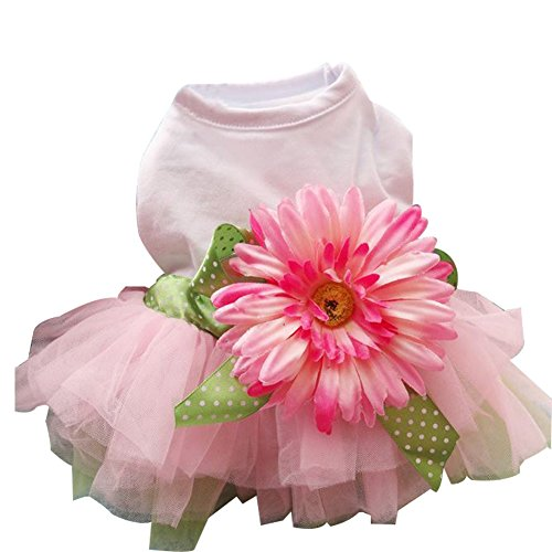 BUYITNOW Dog Tutu Dress Daisy Gauze Bowknot Pet Summer Party Skirt for Small Dogs Girl White