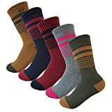 5Pack Women's Multi Performance Padded Hiking/Outdoor Crew Socks Vintage Stripe 5Pair Small