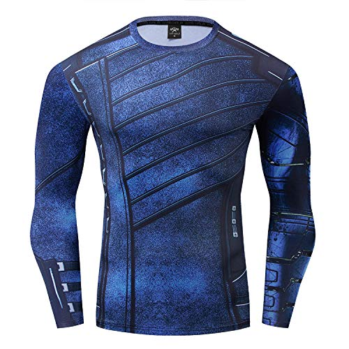 Winter Soldier Shirt Long Sleeve Outdoor Sports and Casual 3D Print Compression Shirt (XX-Large, Blue)]()