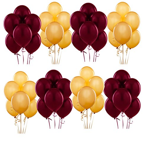 Gold and Pearl Burgundy Latex Balloon ~ 50ct by Anagram -