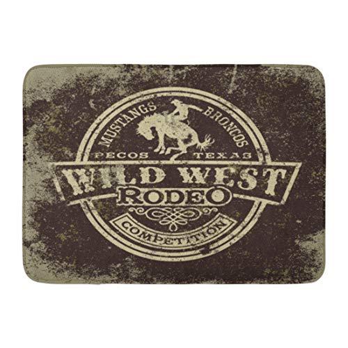 Emvency Doormats Bath Rugs Outdoor/Indoor Door Mat Cowboy Wild West Rodeo Vintage for Boy Wear Effect in Separate Layers Western Bathroom Decor Rug Bath Mat 16