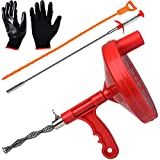 Gesoon Drum Auger Plumbing Snake/ 25-Ft Durable Steel Heavy Duty Drain Snake Cable - Also Includes Stainless Steel Drain Clog Remover, Plastic Drain Snake Tool and Work Gloves