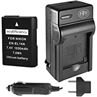 ecoEfficiency Fully Decoded EN-EL14, EN-EL14A Battery and Charger for Nikon D3400 Digital SLR Camera