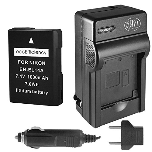 ecoEfficiency Fully Decoded EN-EL14, EN-EL14A Battery and Charger for Nikon D3400 Digital SLR Camera