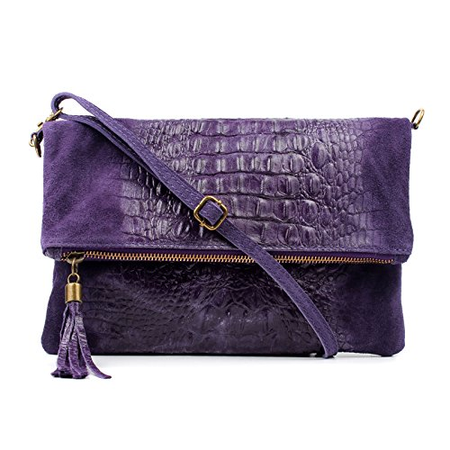 Clutch Bag Real Croc Purple Wedding Occasion Shoulder Suede Bag Bag Envelope Leather Aossta IUqXx