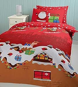 Catherine Lansfield - Funda de edredón y 2 fundas de almohada (200 x 200 cm y 50 x 75 cm, 55% algodón y 45% percal de poliéster), diseño de Papá Noel y regalos de Navidad