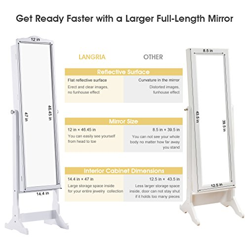 Amazon.com: LANGRIA 10 LEDs Lockable Jewelry Cabinet Full Length Mirrored  Jewelry Armoire Free Standing, 5 Shelves, Organizer For Rings, Earrings, ...