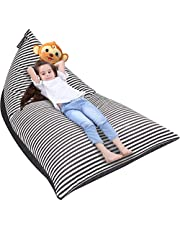 Stuffed Animal Storage Bean Bag Chair, Beanbag Cover Stuffed Animal Lounge Seat for Organizing Kid's Room, Premium Air Layer Material Strong Slasticity Extra Soft and Comfortable (Stripe-2)