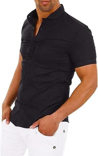 YEBIRAL Camisetas Hombre Manga Corta Originales con Botones Casual Color Sólido Slim Blusa Camisas Camisetas Hombre Basicas Camisa(2XL, Negro): Amazon.es: Ropa y accesorios