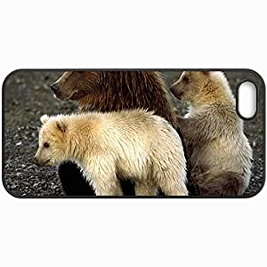 Fashion Unique Design Protective Cellphone Back Cover Case For iPhone 5 5S Case Bears Cubs Sit Playful Black