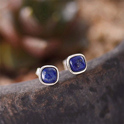 Rounded Earrings Square - FidgetFidget 925 Sterling Silver Lapis Lazuli Blue Rounded Square Post Stud Earrings A1606