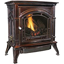 Ashley AGC500VFMN Vent-Free Mahogany Enameled Porcelain Cast Iron Stove, 31000 BTU