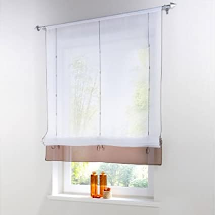 Pueri Roman Shades Ribbon Adjustable Rod Pocket Kitchen Balcony Window  Curtain Panels (Coffee, A