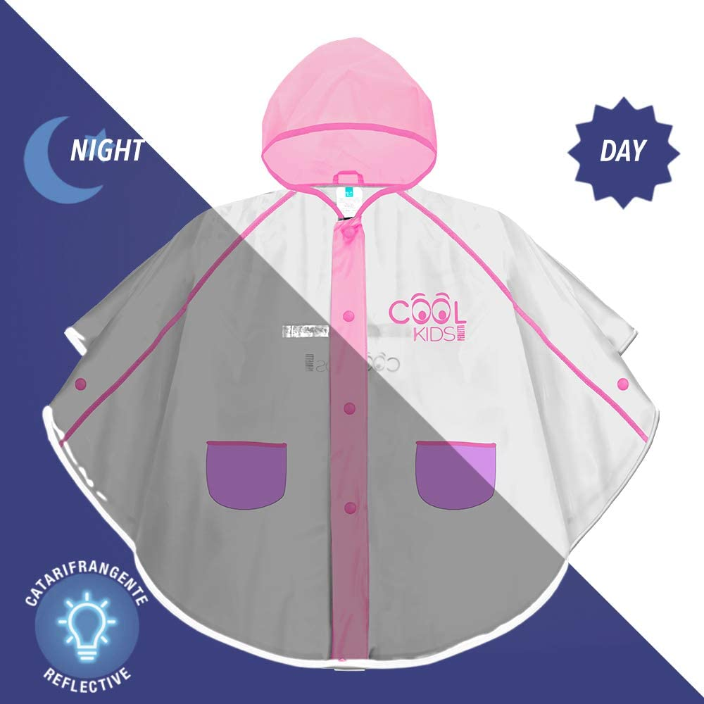PERLETTI Transparent and Bright Pink Rain Trench Coat for Kids Waterproof Clear Raincoat with Hood and Buttons for Children Girl Cape with Fucshia Details and Cool Kids Print 6//9 Years Old