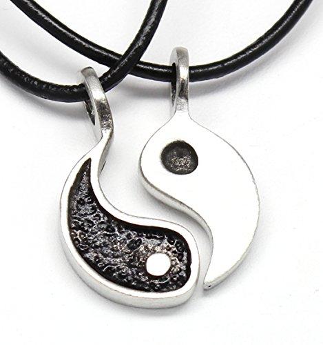 Trilogy Jewelry Pewter Yin Yang Chinese Taoism Balance Meditation 2 piece Pendant on Leather Necklace