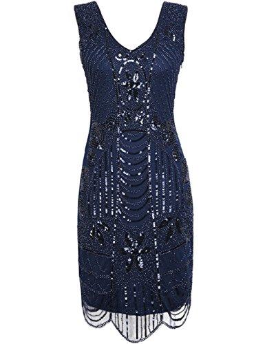 Kayamiya Women's Retro 20s Beaded Art Deco Inspired Gatsby Flapper Dress M Blue (20s Womens Dress)