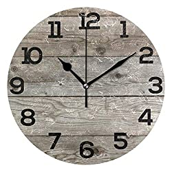 Wall Clock Old Barn Wood Rustic Round Acrylic Clock Black Large Numbers Silent Non-Ticking 9.45 Clock Decorative Painting Battery Operated Clock for Home School Hotel Library