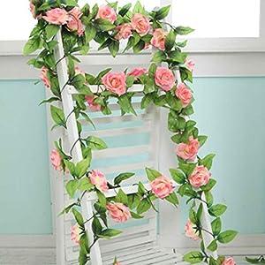 240cm Artificial Flowers Vine Home Wedding Garden Decoration Rose Rattan String Festival Hanging Silk Flower,Rose Pink,Russian Federation 16